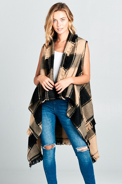 PLAID FRAYED END PONCHO - orangeshine.com