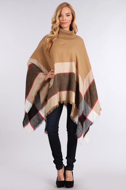 ASYMMETRICAL FRINGE TURTLENK PONCHO - orangeshine.com