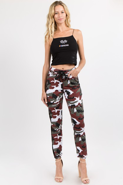 SIDE TAPE COLORED CAMO JOGGERS - orangeshine.com