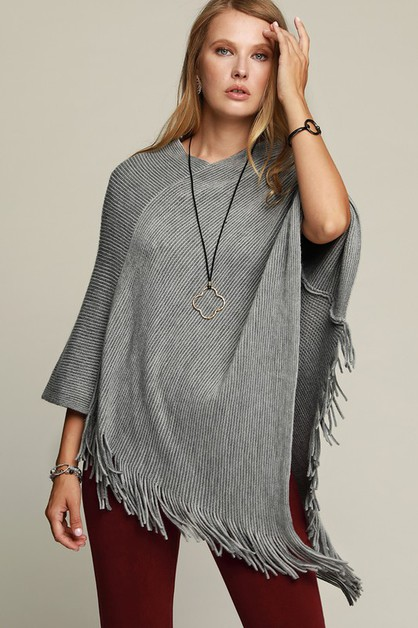 Striped Knit Poncho - orangeshine.com