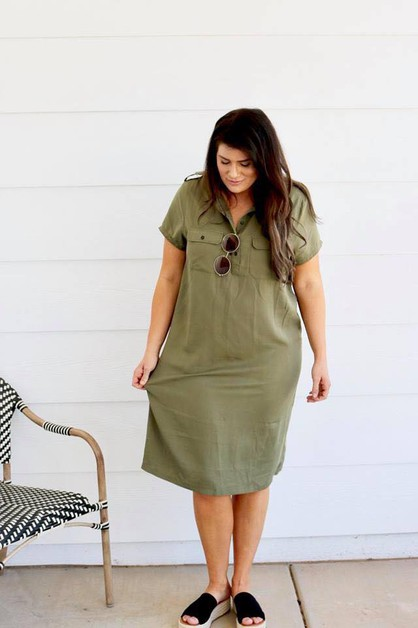 Sahali Dress - Olive Epaulet Plus - orangeshine.com