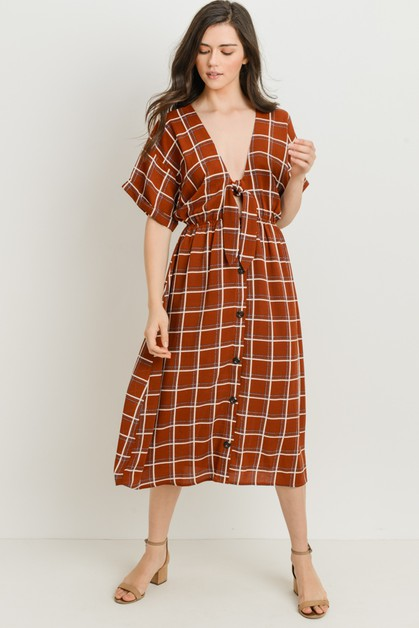 Tie Front Windowpane Dress - orangeshine.com