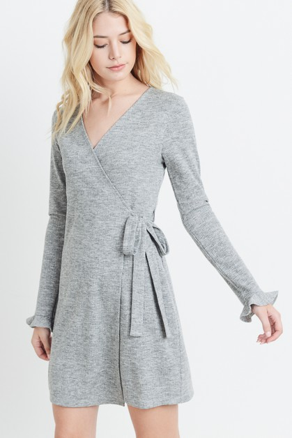 Bell Sleeve Knit Wrap Dress - orangeshine.com
