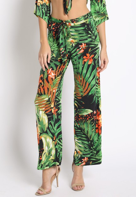 TROPICAL PRINT CROPPED PANTS - orangeshine.com