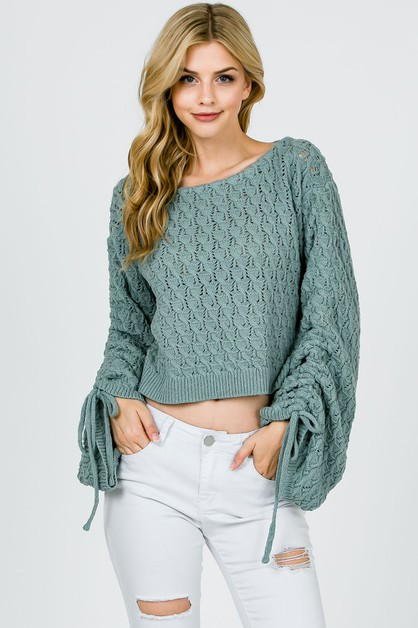 KNIT SWEATER WITH CINCHED SLEEVES - orangeshine.com