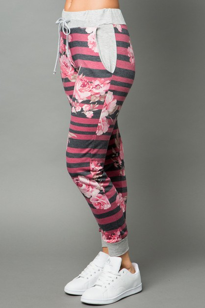 Floral and Striped Drawstring Jogger - orangeshine.com