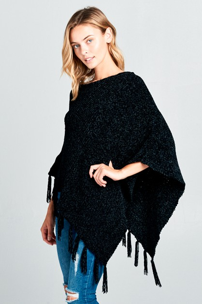 SOFT CASHMERE FEEL FRAYED END PONCHO - orangeshine.com