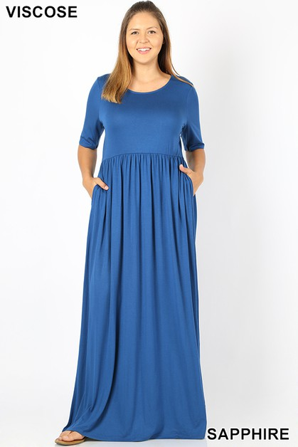 PLUS VISCOSE MAXI DRESS - orangeshine.com