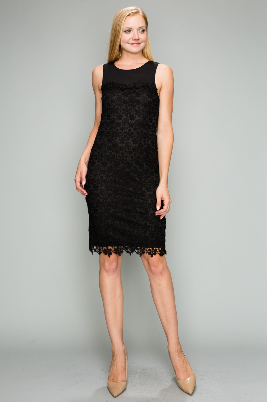 SLEEVELESS LACE MIDI DRESS - orangeshine.com