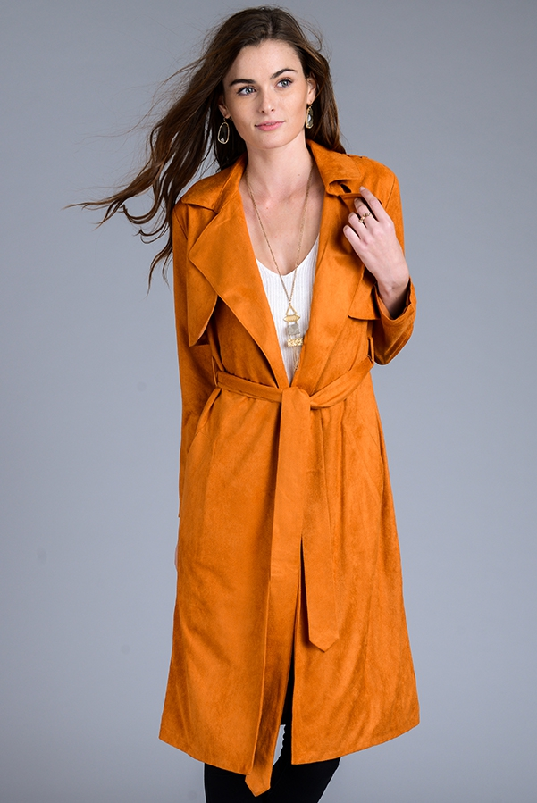 FAUX SUEDE TRENCH COAT - orangeshine.com