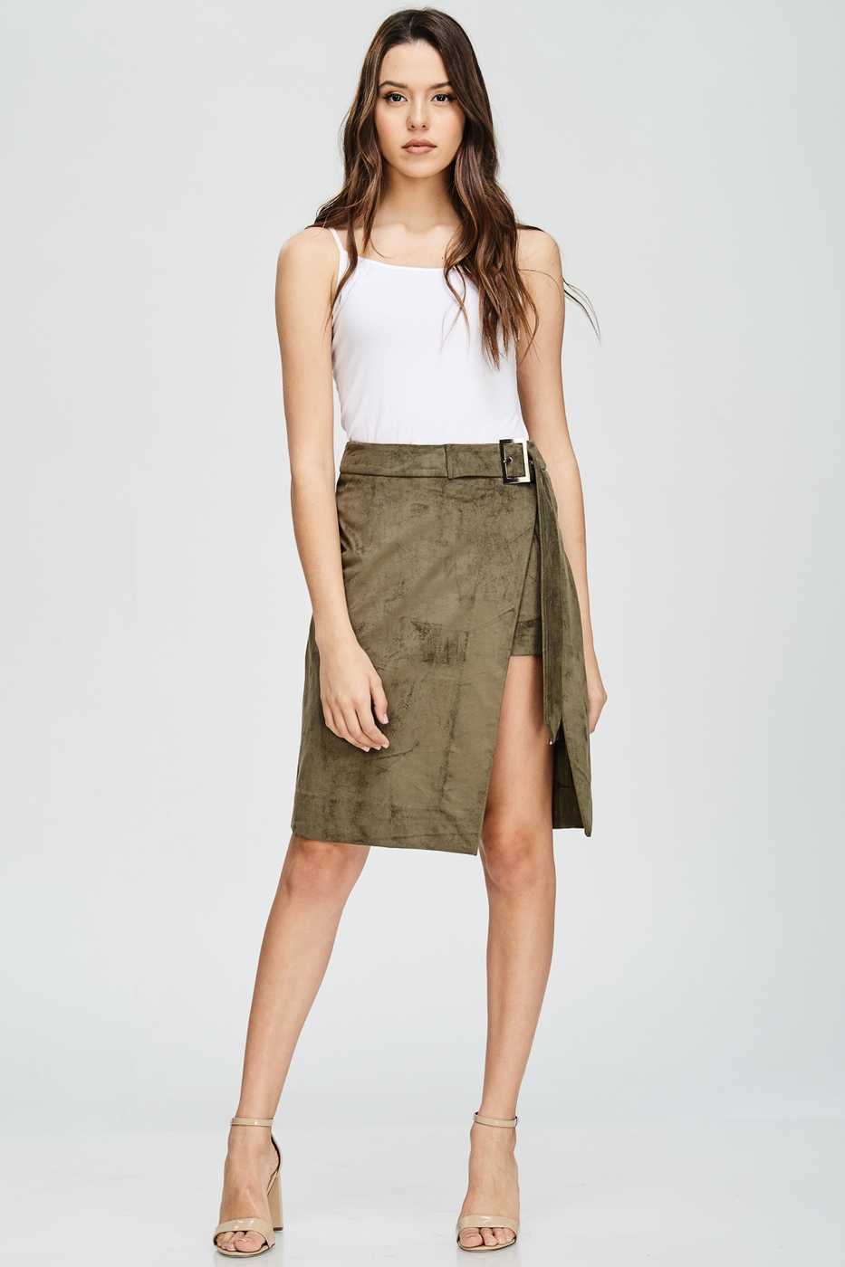 Faux Suede Wrap Skirt - orangeshine.com