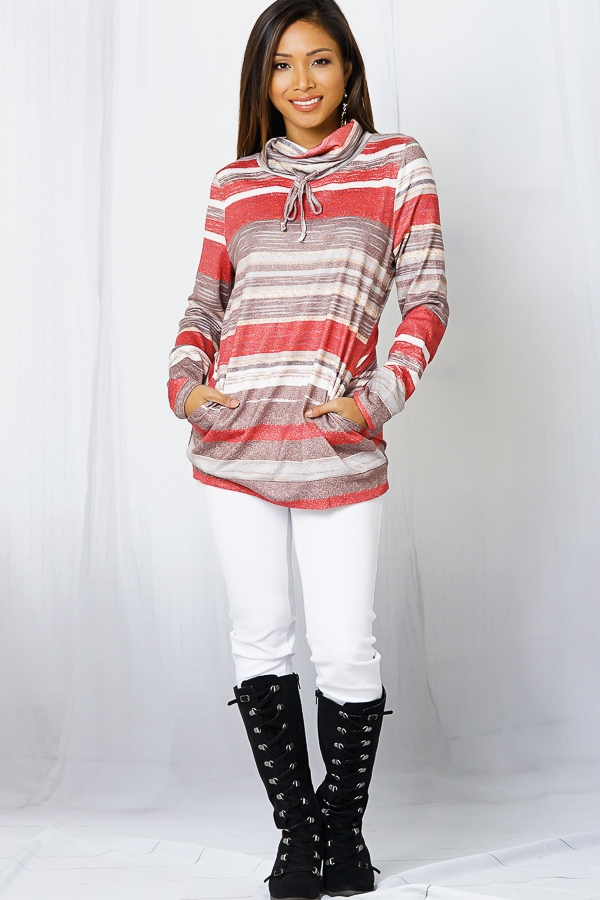 COAL NECK GRAINY STRIPES PULLOVER - orangeshine.com