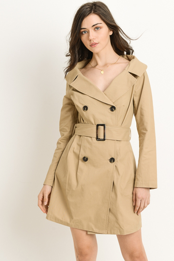 Belted Trench Dress - orangeshine.com