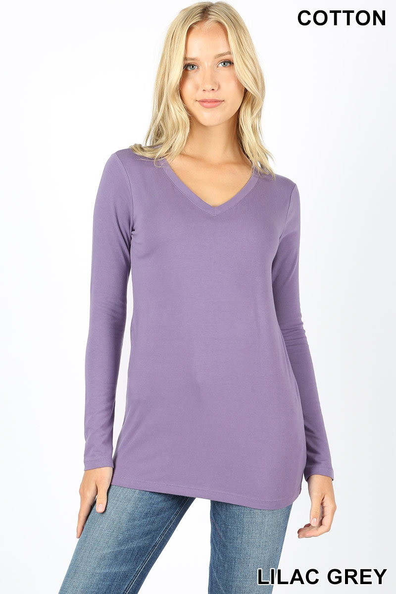 COTTON V-NECK LONG SLEEVE T-SHIRT - orangeshine.com