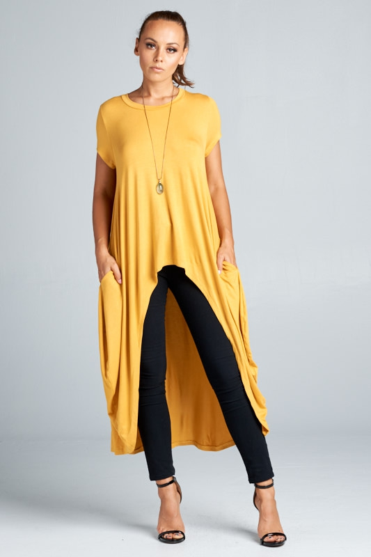 Hi Low Knit Tunic Top - orangeshine.com