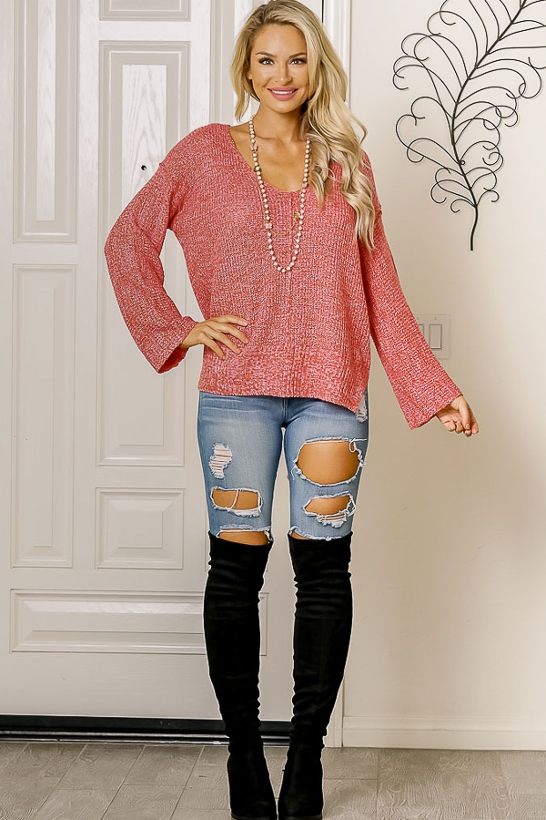 v neck relaxed knit sweater - orangeshine.com