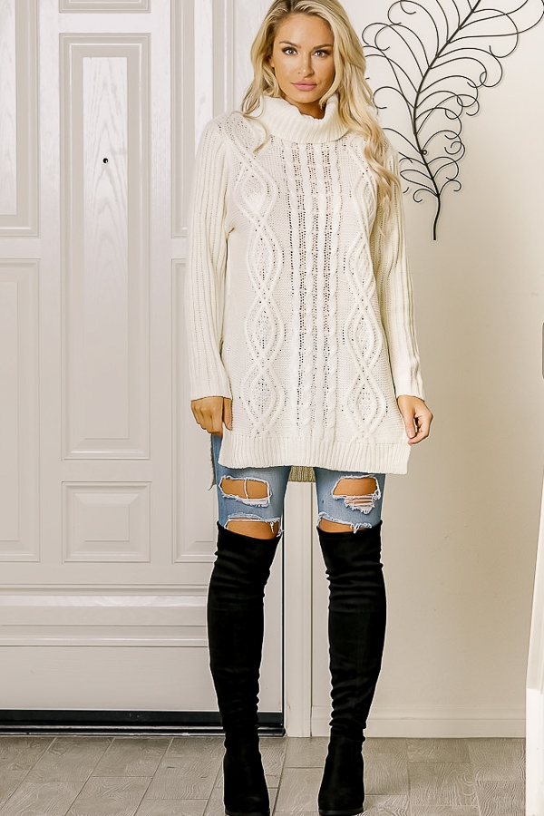 cable knit slit side sweater - orangeshine.com