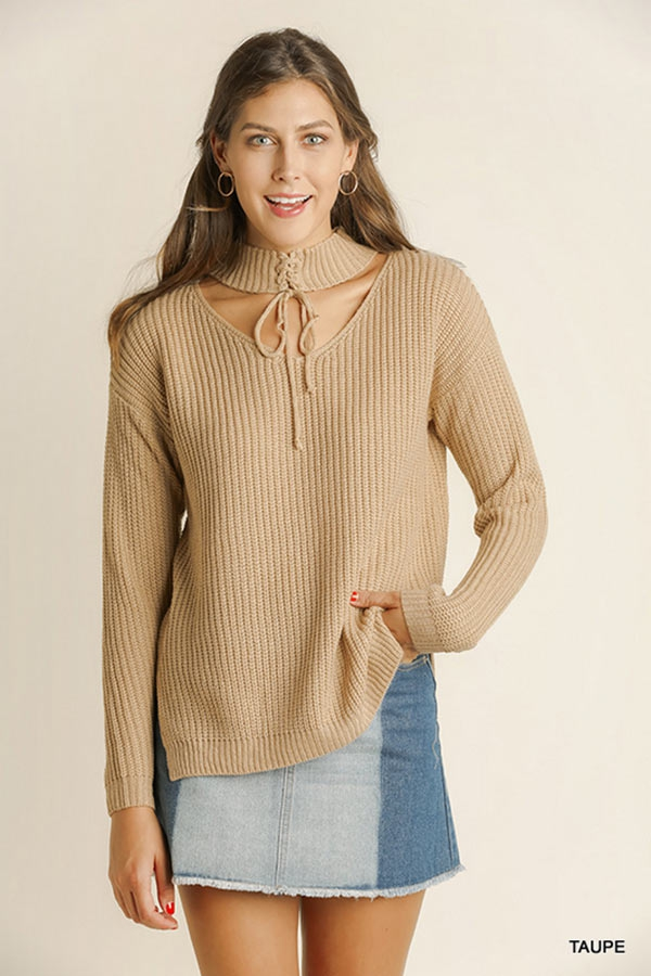 Lace up Front Cutout Sweater - orangeshine.com
