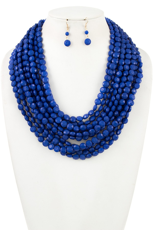 FACETED MULTI ROW CHUNKY BIB NECKLAC - orangeshine.com