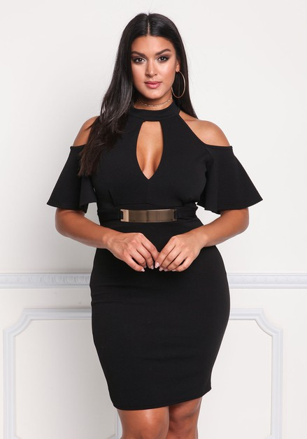plus Mid Length Solid Dress - orangeshine.com