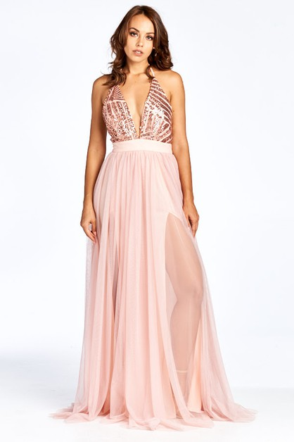 V-Neck Cocktail Long Dress - orangeshine.com