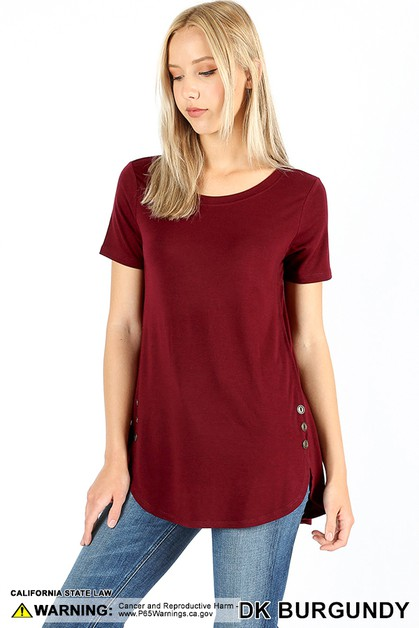 PREMIUM BUTTON DOLPHIN HEM TOP - orangeshine.com