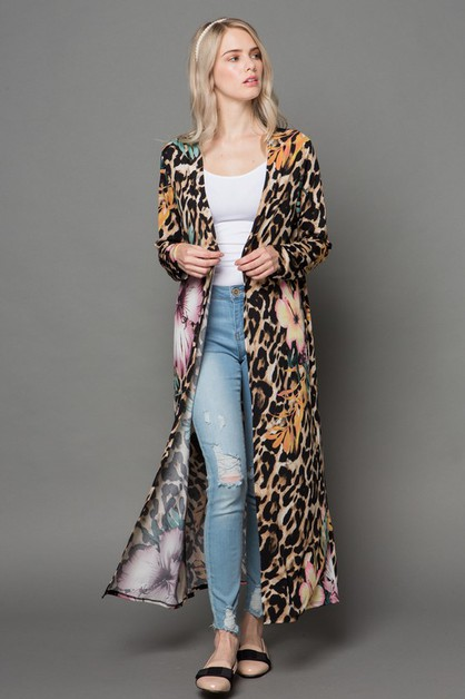 FLORAL AND LEOPARD LONG KIMONO  - orangeshine.com