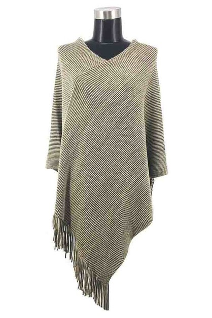 Winter warm stripe fringe poncho - orangeshine.com