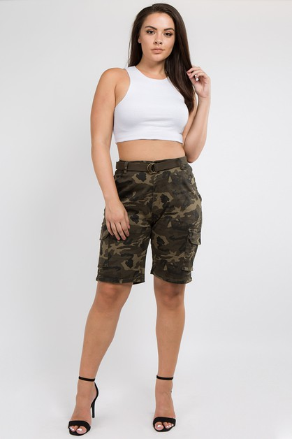 PLUS SIZE CARGO BERMUDA WITH BELT - orangeshine.com
