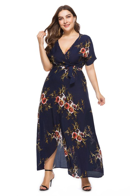 Foral Print With Belt  Maxi Dress - orangeshine.com