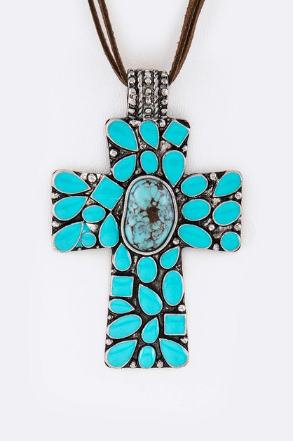 Enamel Cross Pendant Necklace Set - orangeshine.com