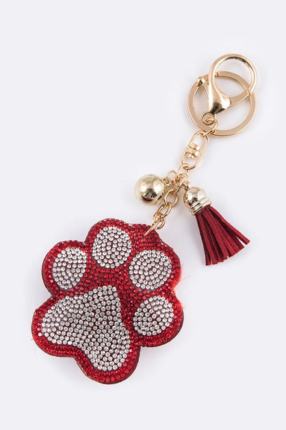 Crystal Paw Print Puffy Key Chain - orangeshine.com