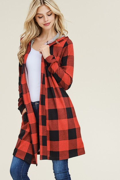 CHECKER HOODED CARDIGANS - orangeshine.com