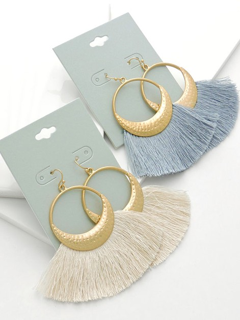 Fanned Tassel Hoop Earrings - orangeshine.com