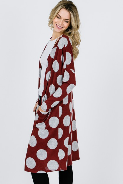 LONG SLEEVE POLKA DOT CARDIGANS  - orangeshine.com