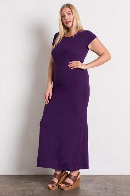 PLUS SIZE SHORT SLEEVE MAXI DRESS - orangeshine.com
