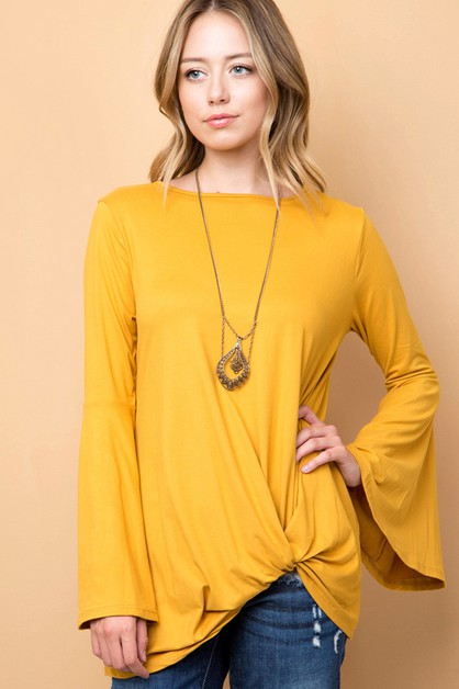 SOLID BELL SLEEVE FRONT KNOT TOP - orangeshine.com