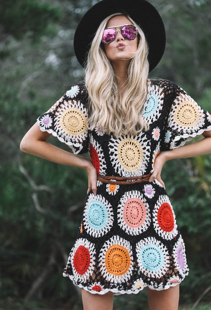 MULTI COLORED CROCHET DRESS - orangeshine.com