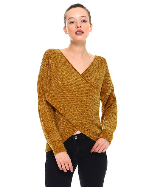 -Chenille Criss-Cross V-Neck Sweater - orangeshine.com