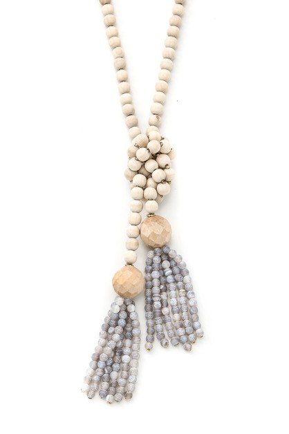 Beaded Knot Dual Tassel Necklaces - orangeshine.com