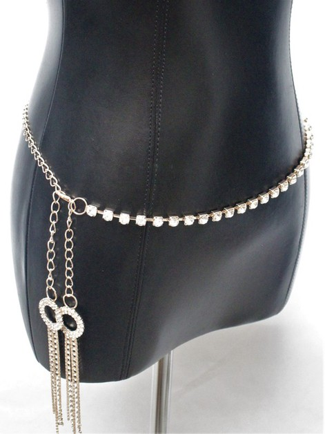 RHINESTONE METAL CHAIN BELT - orangeshine.com