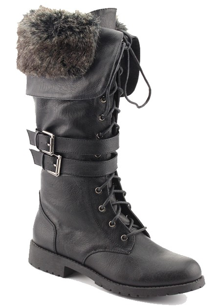 PU SHORT BOOT INSIDE FUR WITH LACE A - orangeshine.com