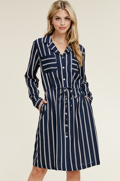 Tie Waist Stripe Button Down Dress - orangeshine.com