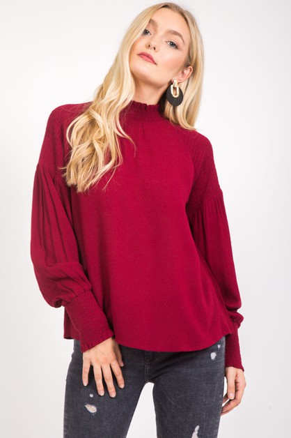 LONG SLEEVE TEXTURED SMOCKING BLOUSE - orangeshine.com