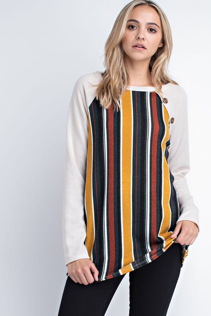 Vertical Stripe Contrast Top with Bu - orangeshine.com