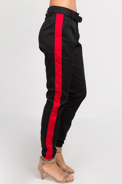 HIGH RISE TWILL JOGGER WITH BELT - orangeshine.com