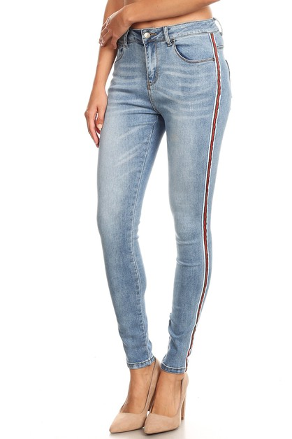 HIGH WAIST STRIPE EMB JEANS - orangeshine.com
