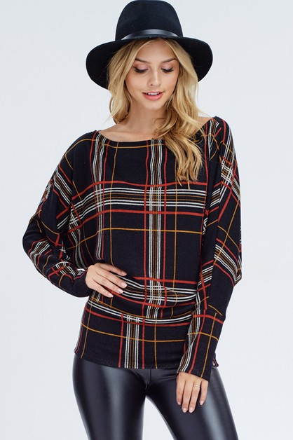 Plaid Knit Sweater - orangeshine.com