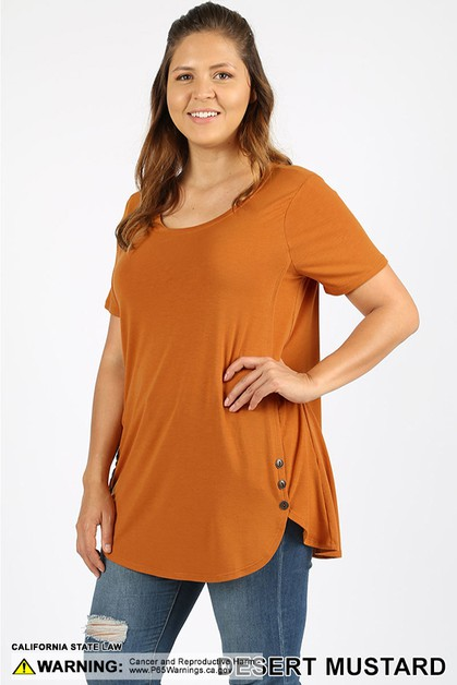 PLUS PREMIUM BUTTON DOLPHIN HEM TOP - orangeshine.com