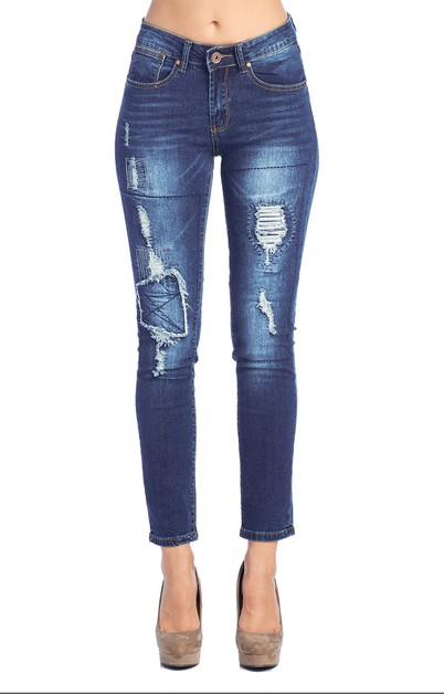 Destroyed Skinny Jeans Denim - orangeshine.com